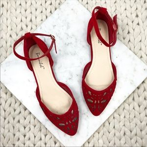 Lulu's Bonnibel Red Vegan Suede Cutout Flats